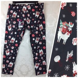Holiday Llama Ankle Leggings Gray Juniors XXL 19